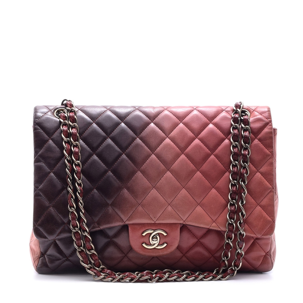 CHANEL -  DAMSON TWO TONE LAMBSKIN  LEATHER MAXI  SINGLE FLAP BAG